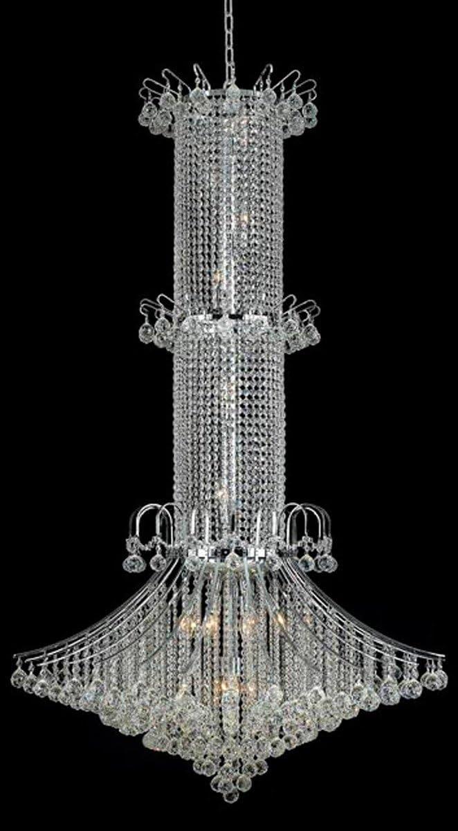 Elegant Lighting Value Toureg Collection Chandelier D 44in H 72in Lt 20 Chrome Finish Elegant Cut Crystals Chrome