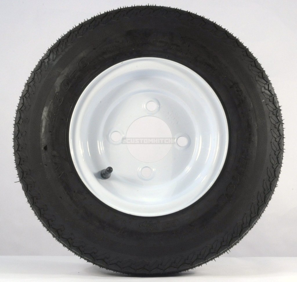 4.80 - 8 Solid White Trailer Rim and Tire Assembly LRB 4 on 4 Bolt Pattern