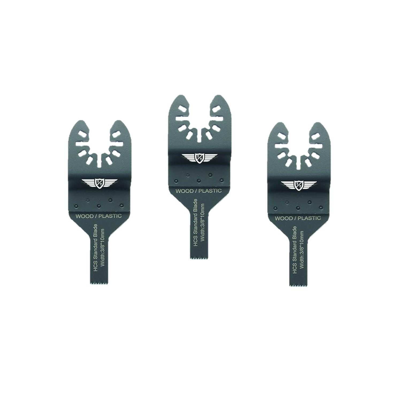 3 x 10mm TopsTools FA10F_3 cuchillas de corte de madera de rá pido ajuste para Dewalt Black and Decker Bosch Fein (No-StarLock) Makita Milwaukee Parkside Ryobi Worx Multi herramienta accesorios