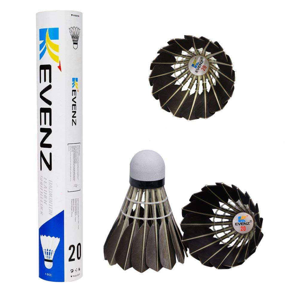 KEVENZ 12-Pack Advanced Goose Feather Badminton Shuttlecocks,Nylon Feather Shuttlecocks High Speed Badminton Birdies Balls with Great Stability and Durability (12-Pack,Black)