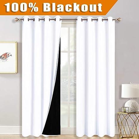 Amazoncom Ryb Home Total Light Block White Curtain Set For Nursery