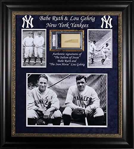 Babe Ruth Framed (Yankees Babe Ruth & Lou Gehrig Signed & Framed Cut Display Slabbed - PSA/DNA Certified - Baseball Slabbed Autographed Cards)