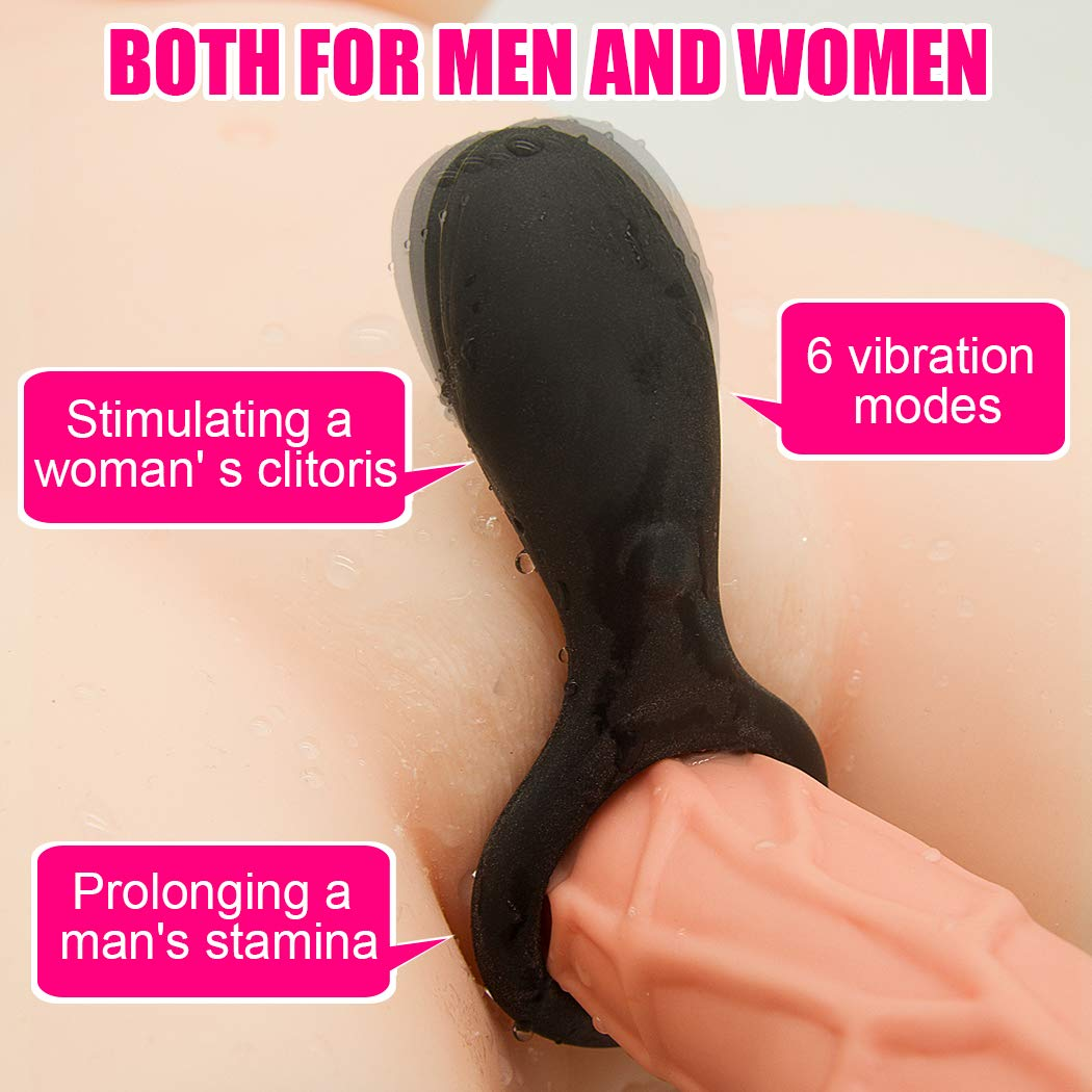 lanla Six Dolls for Men Lifelike Vibrating Testicle Rings Silicone-Massàger Ring Dual G Spotter, Full Silicone Adult S(exy Toys for Mens Delay Ring or Couple Waterproof Tshirt