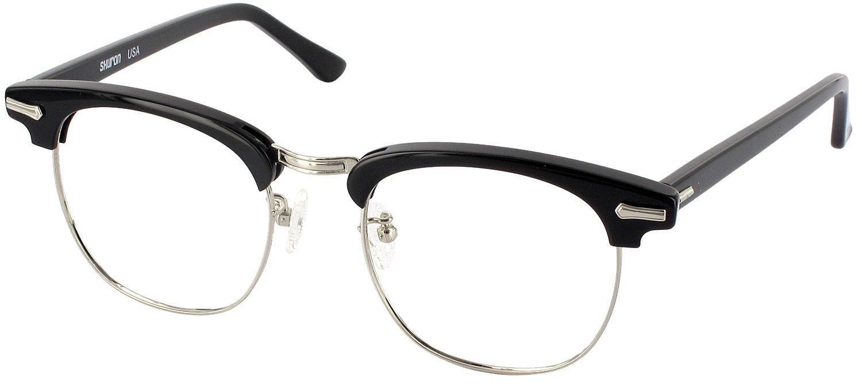 3b0af3a9ec6b Amazon.com: Shuron Ronsir 50 (Men's Average Fit) Single Vision Full Frame  Designer Reading Glasses, Black with Silver, +1.50: Health & Personal Care