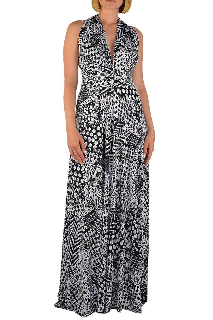 0c7641725b Galleon - Ivon LA Made In USA Infinity Transformer Convertible Maxi Dress  (Black-White-print)