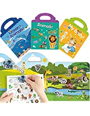 MABUSIYI Reusable Sticker Book for Kids, 3 Pack Sticker Books for Learning Toys for Toddlers 1-3, Static Sticker for Toddler Toys Age 2-4, Educational Sticker Pad Book Toys for Kids Toddlers
