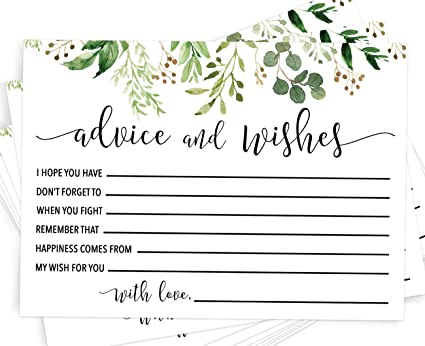wedding advice cards 50 greenery advice cards advice and well wishes advice for