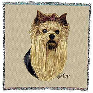 Pure Country Weavers - Yorkshire Terrier Woven Throw Blanket with Fringe Cotton. USA Size 54x54 8