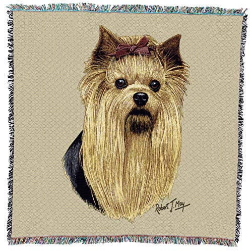 Pure Country Weavers - Yorkshire Terrier Woven Throw Blanket with Fringe Cotton. USA Size 54x54