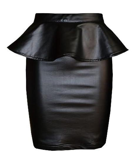 Amazon Fashionmark Womens Plus Size Wet Look Peplum Pencil