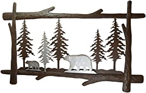 Pine Ridge Mother and Son Bear Metal Wall Art - Christmas Handcrafted Home Decor Scan and Metal Boarder - Christmas Holiday Decorations