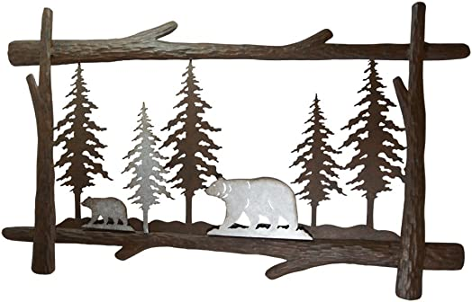 Pine Ridge Mother and Son Bear Metal Wall Art – Christmas Handcrafted Home Decor Scan and Metal Boarder – Christmas Holiday Decorations