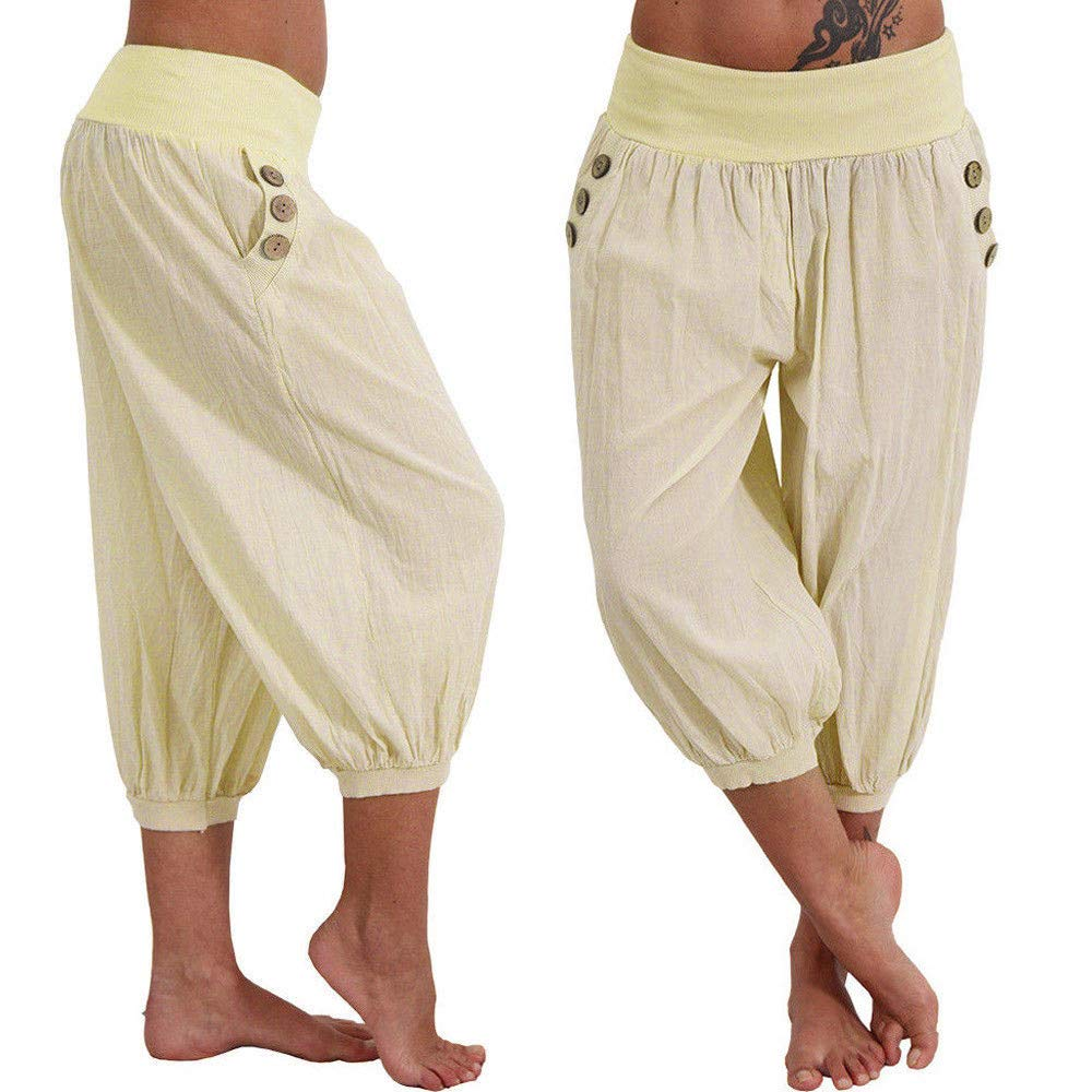 Women's Pants Loose Comfy Overalls Boho Solid Joggers Cropped Trousers Bottoms Yoga Sweatpant Summer Beige by Pottseth (Image #2)
