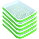 SHEING Seed Sprouter Tray 5 Pack, BPA Free Nursery Tray Seed Germination Tray Healthy Wheatgrass Seeds Grower & Storage Trays for Garden Home Office