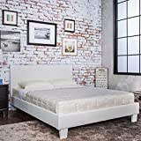 AS Quality Signature Beds Leather Platform Bed with Wooden Slats, Queen