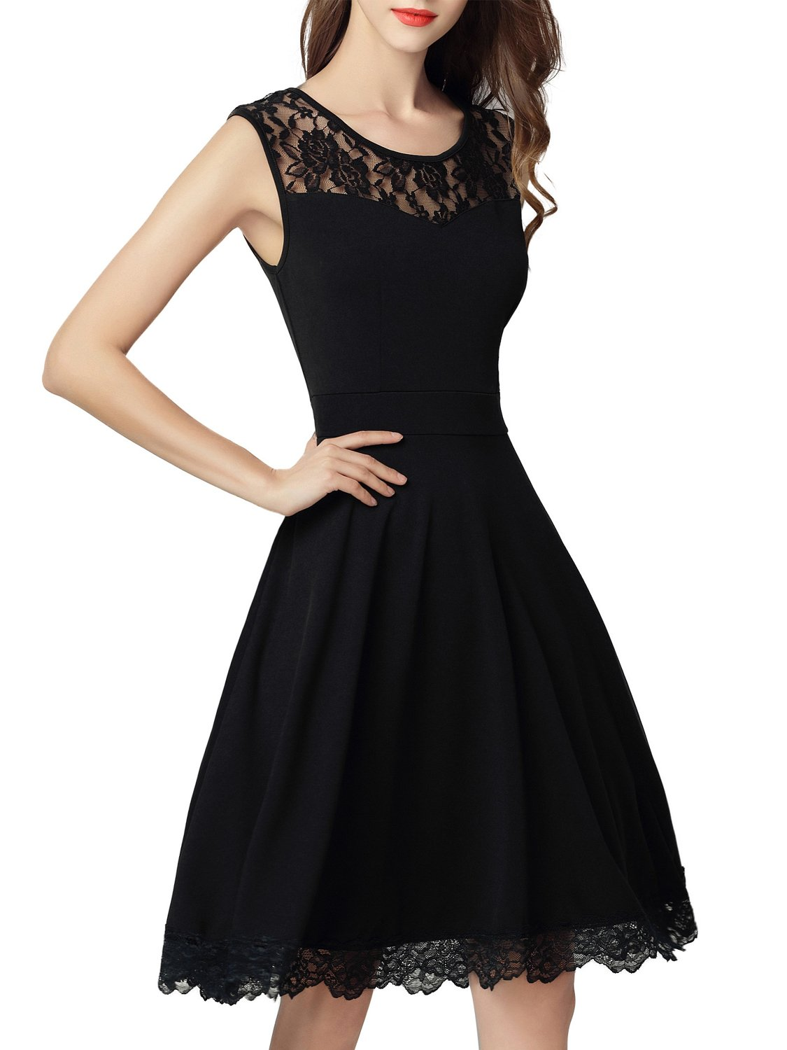 Dresms Women Sleeveless Lace Floral Elegant Cocktail Dress Crew Neck Knee Length (Black, Small) by Dresms (Image #1)