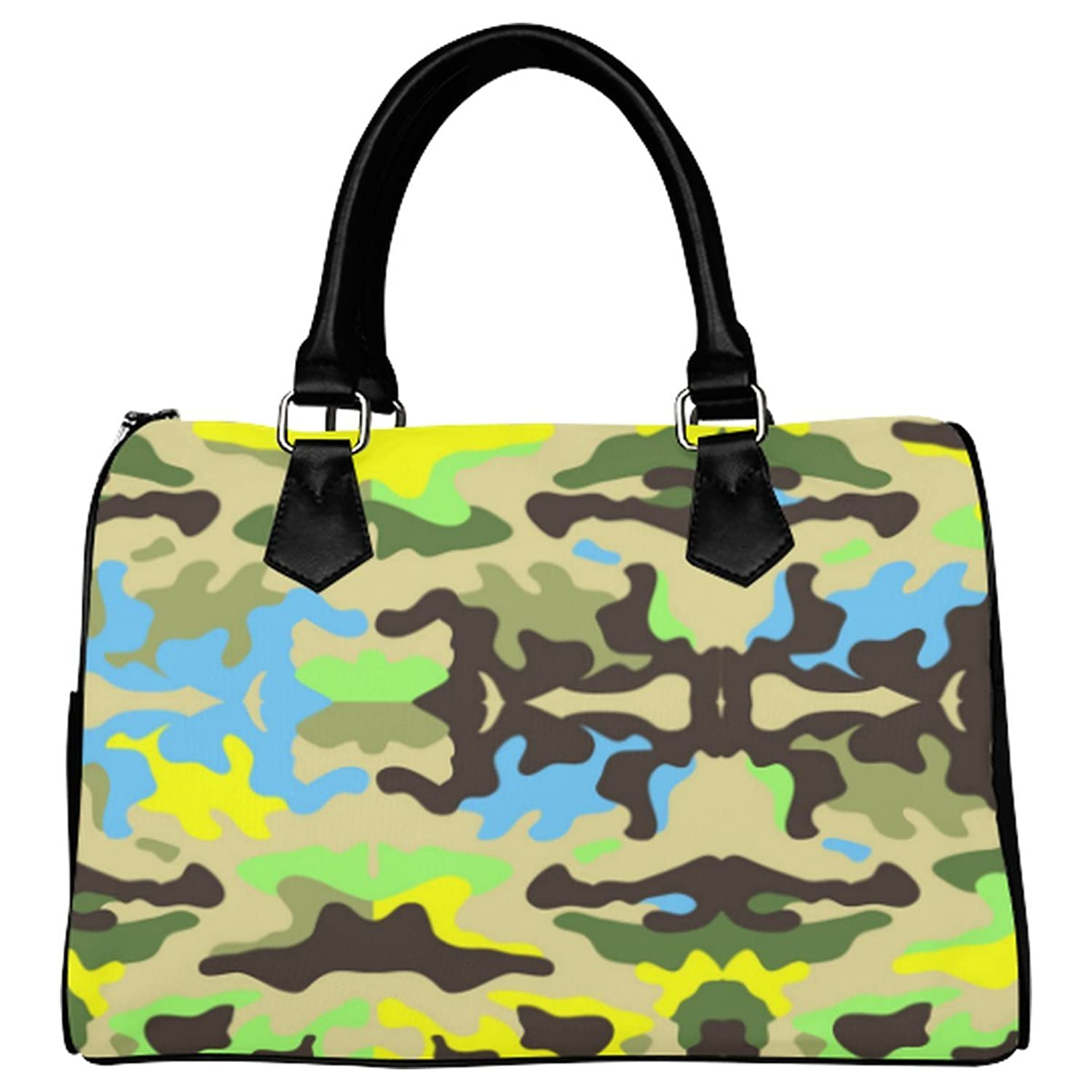 JASONEA Women Boston Top Handle Digital Camo Green Handbag