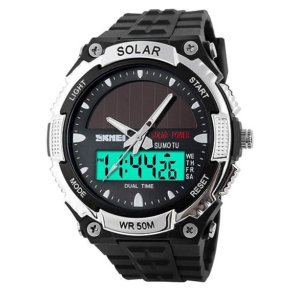 Hombre Moda Relojes solares,Impermeable Dual-máquina electrónica Aire Libre Deportes Relojes de los Hombres,Estudiantes Relojes-La Plata: Amazon.es: Relojes
