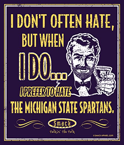 Michigan Football Fans. I Prefer to Hate The Michigan State Spartans 12'' X 14'' Navy Metal Fan Cave -