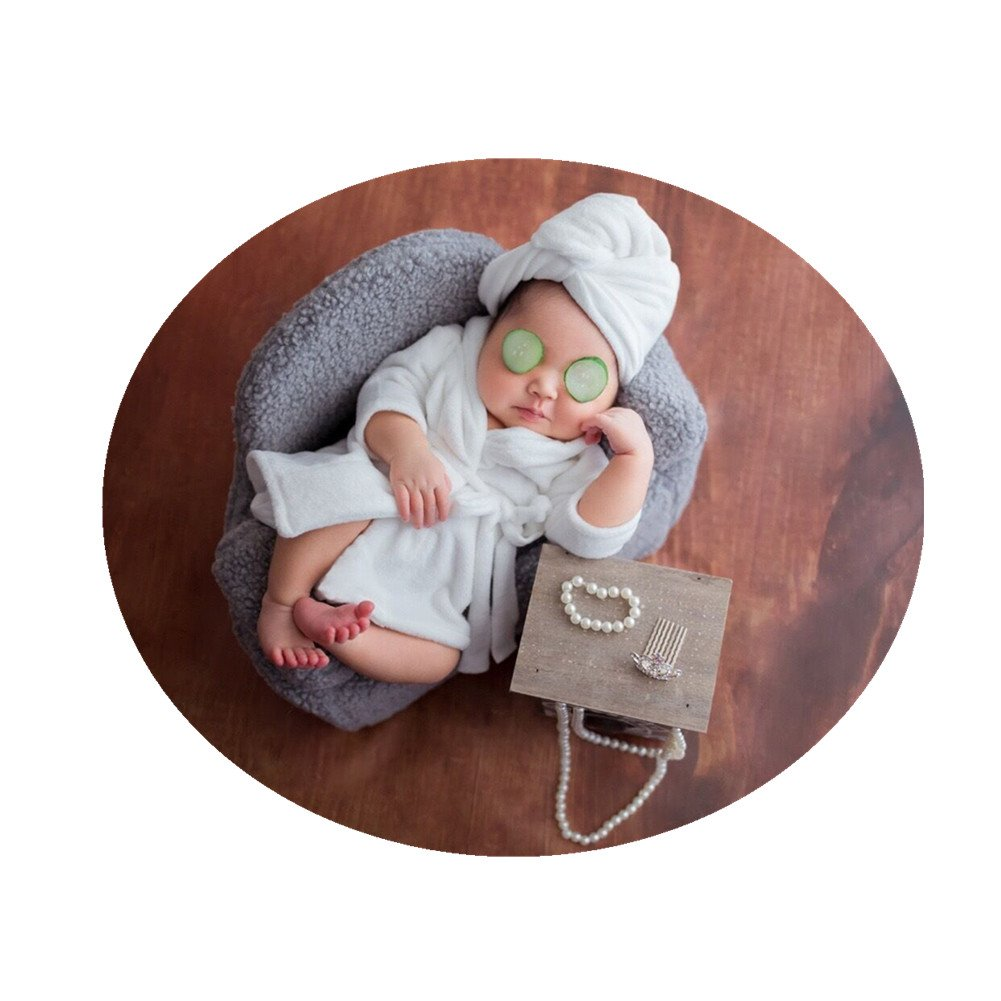 Newborn Monthly Baby Photo Props Bathrobes with Towel Sets for Boys Girls Photography (White)