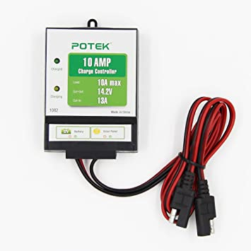 61IU2Sq3knL._SY355_ amazon com potek 10 amp 130 watt 12 volt solar charge controller,Wiring Two Batteries To 12 Volt Solar Controller