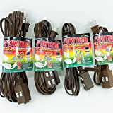 4 Brown Extension Cords 4+6+12+20 Feet 3 Outlet Grounded 2 Conducter 13A Polarized PT3704B-06B-12B-20B