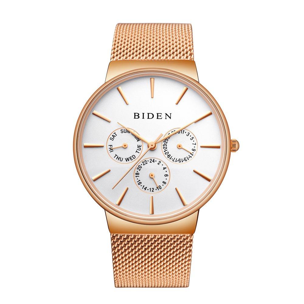 Biden WatchメンズレディースステンレススチールLuxuryビジネスカジュアルMilaneseメッシュバンド腕時計防水 ローズゴールド B075HFRMZV ローズゴールド ローズゴールド