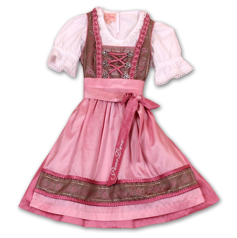 PEZZO D`ORO Damendirndl Kleid Trachtenmode Braun Rosa mit weißer Bluse