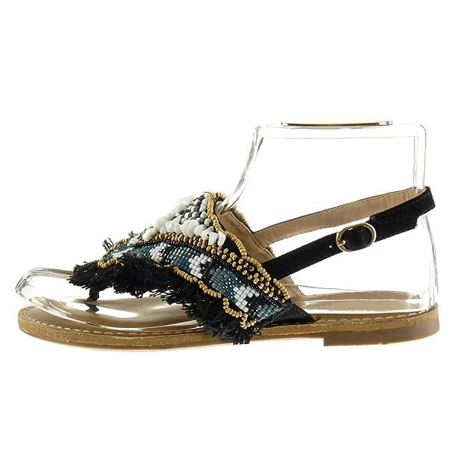 Angkorly - damen Schuhe Sandalen - Perle - Schmuck - fantasy Blockabsatz 1  CM - Schwarz OM-13 T 41: Amazon.de: Schuhe & Handtaschen