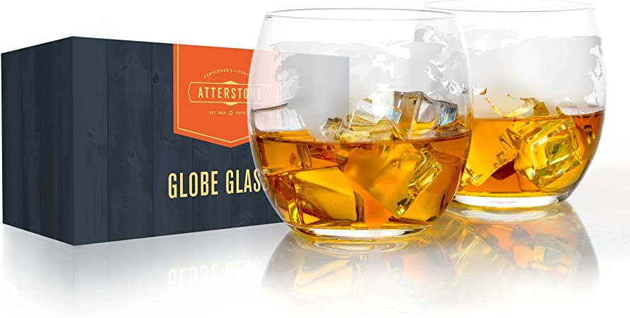 Amazon Com Atterstone Globe Whiskey Glasses 12 Ounce Whiskey And Scotch Glasses Great For Gift Giving Or Home Bar Set Of 2 Old Fashioned Glasses