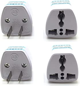 YOQXHY EU AU UK to USA Japan Canada Converter Travel Power Plug Adapter,4-Pack, (USA-2-Pin)