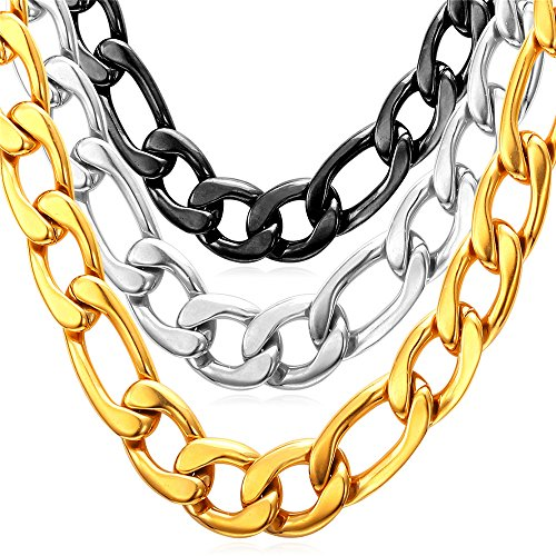 - U7 Jewelry Men Chunky Chains 18K Gold Overlay Stainless Steel Wear Alone or with Pendant Preminum Fashion Jewelry 12mm Figaro Chain 18