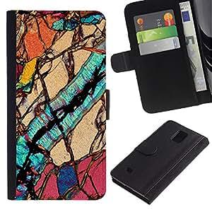 Planetar® Modelo colorido cuero carpeta tirón caso cubierta piel Holster Funda protección Para Samsung Galaxy Note 4 IV / SM-N910 ( Macro Close Up Biology Geology )