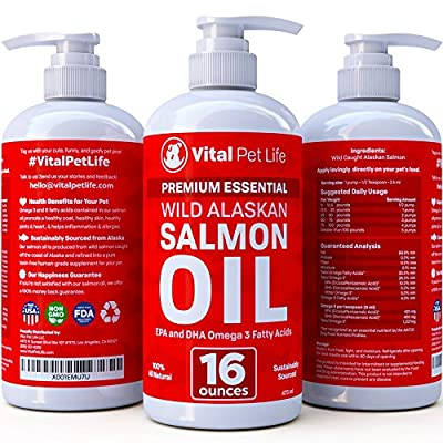 Salmon Oil for Dogs, Cats, and Horses, Fish Oil Omega 3 Food Supplement for Pets, Wild Alaskan 100% All Natural, Helps Dry Skin, Allergies, and Joints, Promotes Healthy Coat, Helps Inflammation, 16 oz