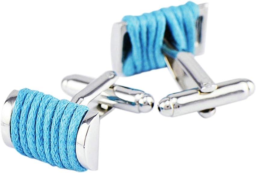 Aienid Gemelos Camisa Plata Azul Cuerda Gemelos para Camisa para Hombre: Amazon.es: Joyería