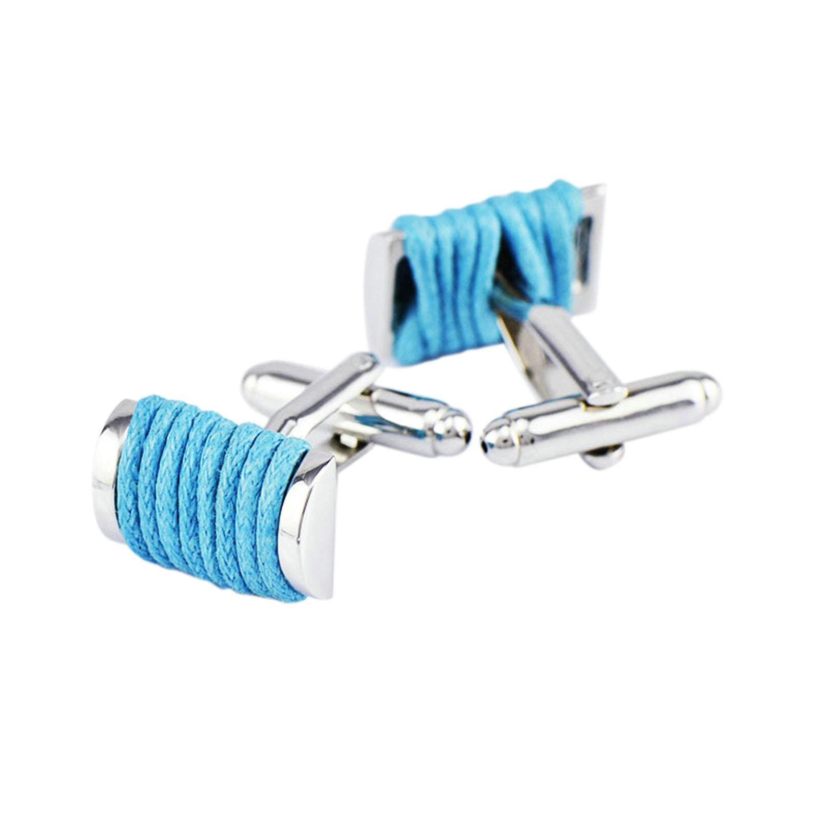 EoCot Shirt Cuff Links Wedding Cufflinks Copper Silver Blue Knitting Rope Shirt/Dress Business Wedding Gift