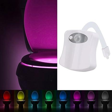 Gyoyo - Luz LED para tapa de WC con sensor de movimientos y 8 cambios de