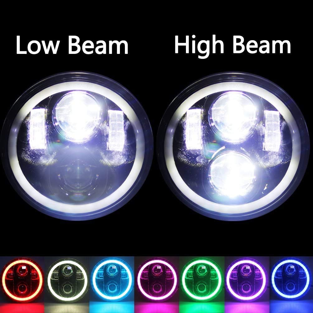 5.75 Motorcycle RGB Halo Headlight,5-3//4 inch Black LED Headlight with White DRL Bluetooth Remote Control RGB Halo Music Mode for Harley Sportster Dyna 883 48 Night Rod Indian Scout Motorcycle