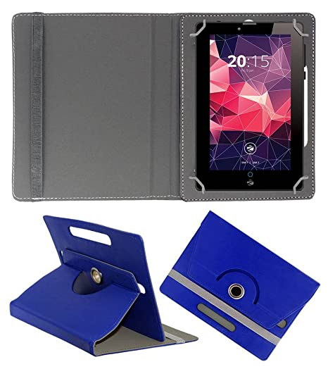 Acm Rotating Leather Flip Case Compatible with Zebronics Zebpad 7t500 Cover Stand Dark Blue Bags,Cases   Sleeves