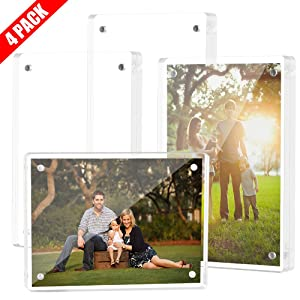 Tomorotec 4-Pack [5 x 7 inch] High Transparency Magnetic Picture Frames Frameless, Acrylic Photo Frame Double Sided Free Standing Desktop Display Stand(4 Pack)
