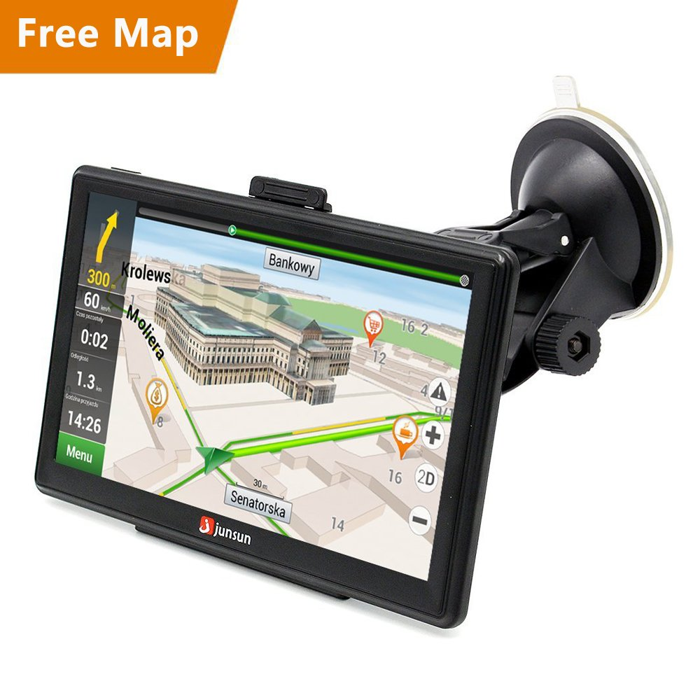 junsun 7'' Car GPS Navigation Vehicle GPS Capacitive Touchscreen Built-in 8GB FM MP3 MP4 Sat nav Navigator with Lifetime Maps