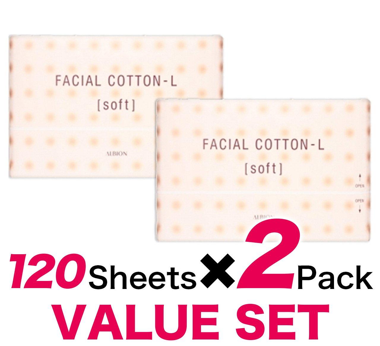 Albion Japan Facial Cotton-L [Soft] 120 Sheet(Set of 2)