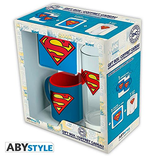 ABYstyle Gift Set Superman, Logo. Mug, Cup and coaster. DC Comics
