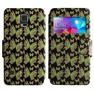 LEOCASE mariposa colorida Funda Carcasa Cuero Tapa Case Para Samsung Galaxy S5 I9600 No.1003716