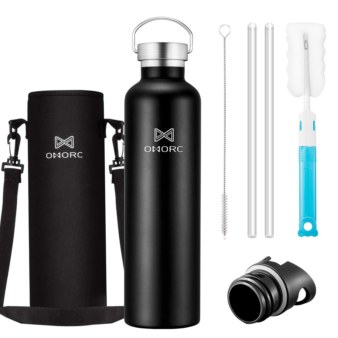 OMORC 316 Stainless Steel Sports Water Bottle-20oz,34oz, Double Wall Vacuum Insulated Water Bottle, Straw and 2 Lids, Wide Mouth,Thermo Travel Modern Mug,Stay Cold for 48 Hrs,Hot for 24 Hrs,BPA Free by OMORC