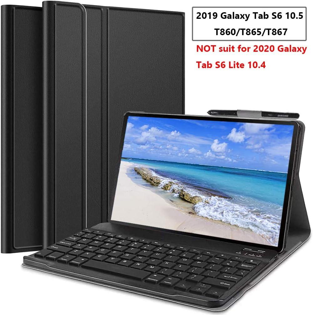 Upworld /Étui Clavier pour Galaxy Tab S6 Clavier Bluetooth avec Housse en Cuir pour Tablette Samsung 10,5 Pouces mod/èle: T860 // T865 // T867,2019 avec Porte-Stylo S Or Rose