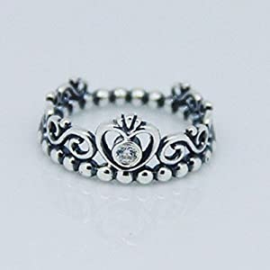 My Princess Ring Fits European Pandora Jewelry Authentic 925 Sterling Silver with Clear Cubic Zirconia (52)