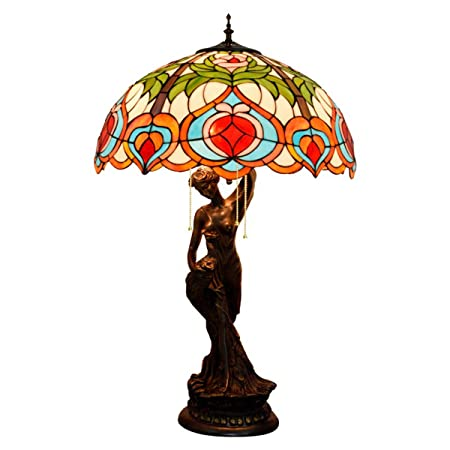 GDLight Lámpara de Mesa Vintage Estilo Tiffany Lámpara de ...