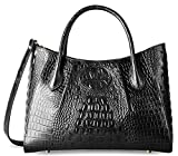 PIFUREN Women Top Handle Satchel Handbags Crocodile Leather Tote Bag C69678( Black)