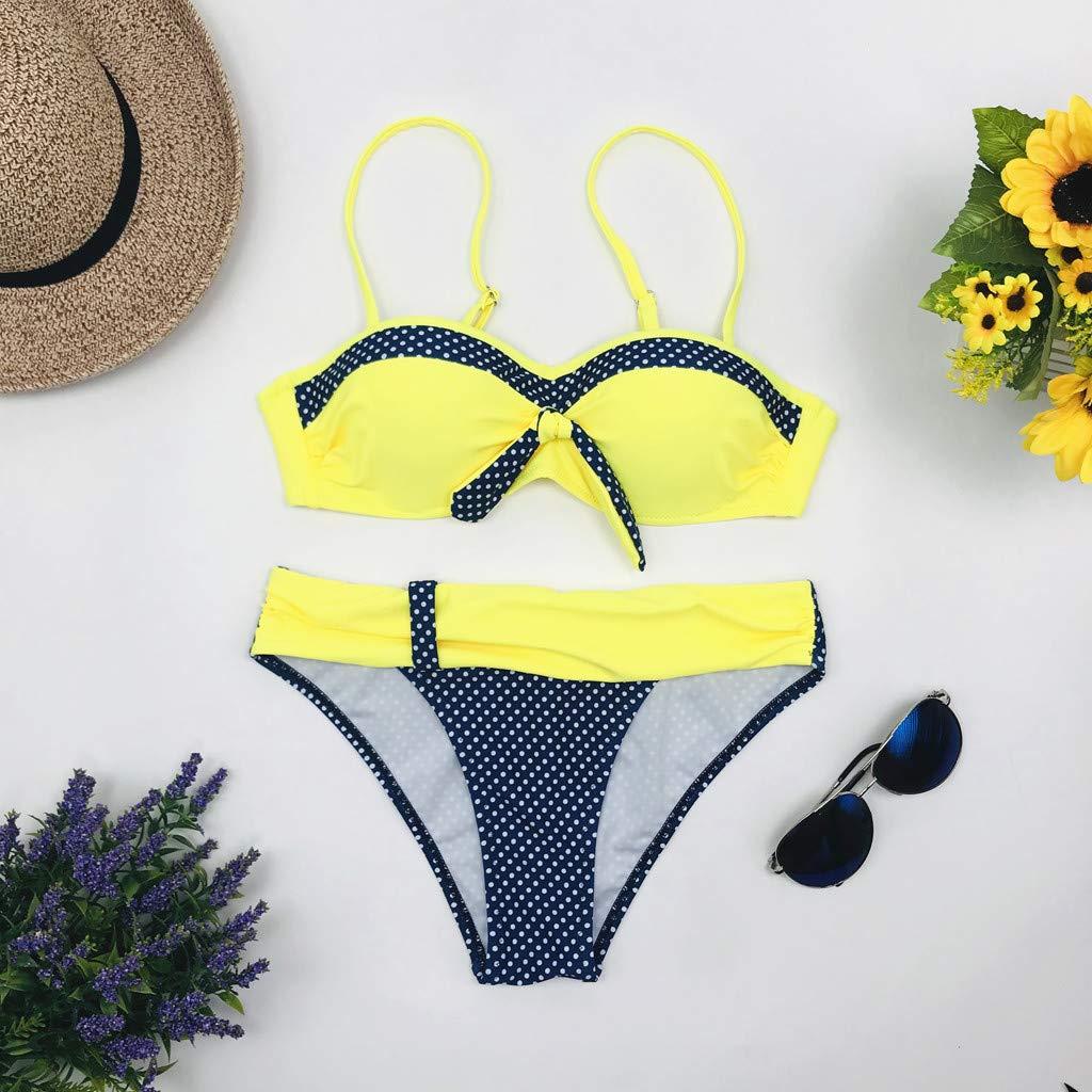 Maillots de Bain 2 Pi/èces Push-up Bikini de Plage Taille Haute Rembourr/é Vert